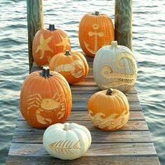 Nautical pumpkins (templates included) www.MontecitoBeachHouse.net