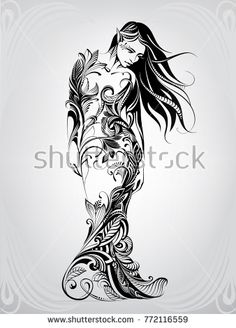 Silhouette of girl in dress from flowers - compre este vetor na Shutterstock e encontre outras imagens. Body Art Tattoos, Sleeve Tattoos, Animal Line Drawings, Virgo Tattoo Designs, Dibujos Tattoo, Fairy Drawings, Angel Drawing, Nature Vector, Modern Tattoos