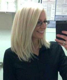 Long Layered Platinum Blonde Bob