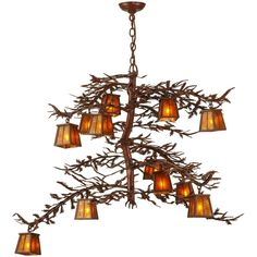 48 Inch W Pine Branch 12 Lt Chandelier - Custom Made. 48 Inch W Pine Branch 12 Lt Chandelier Theme:  RUSTIC MISSION LODGE MICA Product Family:  Pine Branch Product Type:  CEILING FIXTURE Product Application:  CHANDELIER Color:  RUST/AMBER MICA Bulb Type: PIN BLADE Bulb Quantity:  12 Bulb Wattage:  60 Product Dimensions:  38-97H x 48WPackage Dimensions:  NABoxed Weight:  32 lbsDim Weight:  NAOversized Shipping Reference:  TRUCKIMPORTANT NOTE: Most of our items are unique handcrafted work of…