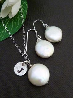 CUSTOM Initial Coin Pearl, Sterling Silver Disc Necklace and Earring SET in Sterling Silver