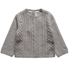 Baby Boys Grey Cable Knit Jumper - Boy | Childrensalon Cable Knit Jumper, Baby Boys, Boy Fashion, Baby Knitting, Pullover, Grey, Sweaters, Style, Young Boys