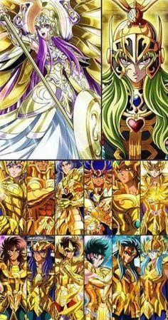 Atena _ Patriarca Shion _Cavaleiros de Ouro