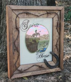 Embroidered horse and rider with hand made barn wood frame $125.00