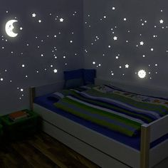 Wandkings Glow-in-the-Dark Decals Sun, Moon & Stars XL Set 114 stickers on 2 US letter sheets (each x inch) Dream Bedroom, Home Bedroom, Kids Bedroom, Baby Nursery Decor, Baby Decor, Bedroom Themes, Bedroom Decor, Chambre Nolan, Outer Space Bedroom