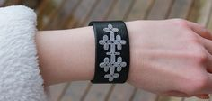 Embroidered sami bracelet black leather by ACDesignJewellery