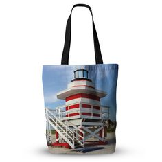 """Philip Brown """"Lighthouse Lifeguard Stand"""" Blue Photography Everything Tote Bag"""