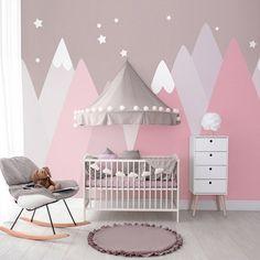 Baby Room Decor, Nursery Room, Girl Nursery, Girls Bedroom, Room Wall Painting, Kids Room Paint, Geometric Mountain Wallpaper, Gris Rose, Cleaning Walls