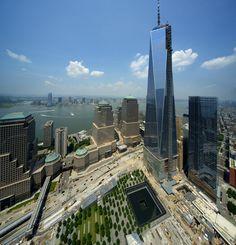 Lower Manhattan skyline- One World Trade Center is 1,776 feet tall and 104 stories.