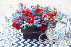 Tic Tock Couture Florals - If These Petals Could Talk | Nautical Baby Shower | Red, White & Blue | Chevron
