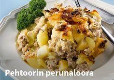Pehtoorin perunaloora, Resepti:Valio #kauppahalli24 #resepti #peruna #laatikkoruoka My Cookbook, Potato Casserole, Baked Potato, Potato Salad, Mashed Potatoes, Macaroni And Cheese, Oatmeal, Food And Drink, Baking
