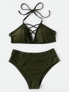 ¡Cómpralo ya!. Lattice Front High Rise Bikini Set. Green Bikinis Sexy Vacation Halter Top Polyester YES Swimwear. , bikini, bikini, biquini, conjuntosdebikinis, twopiece, bikini, bikini, bikini, bikini, bikinis. Bikini de mujer de SheIn.