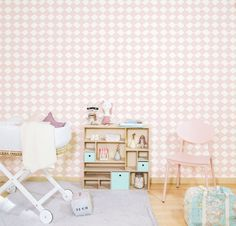 pink wallpaper for nursery Nursery Wallpaper, Pink Wallpaper, Decoration, Baby Room, Office Desk, Print Patterns, Baby Kids, Interior Decorating, Sweet Home