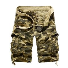 2017 new bermuda men shorts homens leisure camouflage big tooling cargo shorts men yards pocket short masculino pantacourt homme Baggy Shorts, Work Shorts, Casual Shorts, Cotton Shorts, Jogger Shorts, Loose Shorts, Military Shorts, Military Men, Military Camouflage