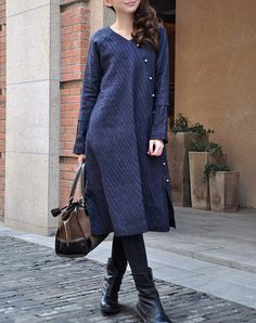 Linen Winter Dress in Blue / Pleated Long Dress Coat - Custom Made