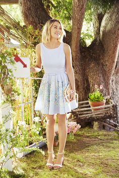 Watercolor florals and the softest blue make this LC Lauren Conrad fit-and-flare dress a dream to wear.