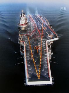 The Aircraft Carrier Liaoning conducts a countermeasure wash down to decontaminate the flight deck. Navy Military, Army & Navy, Navy Carriers, People's Liberation Army, Navy Aircraft Carrier, War Photography, Flight Deck, United States Navy, Navy Ships