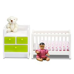 Lundby Smaland Dollhouse Accessories, Nursery Baby Furniture, Crib and Changing Table