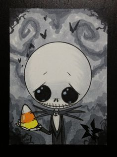 Sugar Fueled Jack Skellington Nightmare Before Christmas lowbrow creepy cute big eye ACEO mini print
