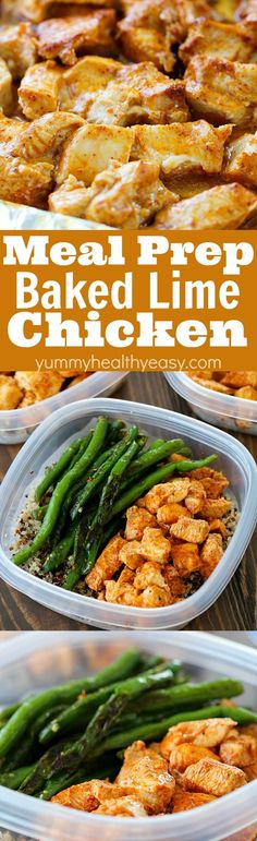 Meal Prep Baked Lime Chicken Bowls ~ eat healthy for the week by making your meals in advance.chicken breasts are cubed and marinated in a chili-lime marinade and then baked and paired with quinoa and green beans for ready-to-go, healthy meals! Make Ahead Healthy Meals, Healthy Meal Prep, Healthy Eating, Healthy Food, Healthy Chicken, Healthy Weight, Healthy Life, Healthy Recipes For Weight Loss, Keto Meal