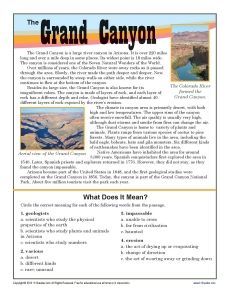 Your student will learn about the Grand Canyon and determine the meanings of words in the passage.