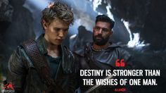 Allanon: Destiny is stronger than the wishes of one man. More on: https://www.magicalquote.com/series/the-shannara-chronicles/ #TheShannaraChronicles #Allanon #destiny
