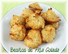 De las primeras receta que compartí en FB ,   cuando la página se llamaba El Menú Diario , fueron los besitos de coco.     Aquí en el blog...