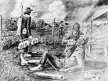 A black-and-white pencil drawing of a man giving another a drink from a canteen. They are located in an enclosure surrounded by barbed wire with guards holding guns patrolling the perimeter.  Raid at Cabanatuan