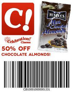 50% off chocolate almonds at Celebration Cinema