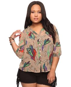 mixed feather top from Forever 21