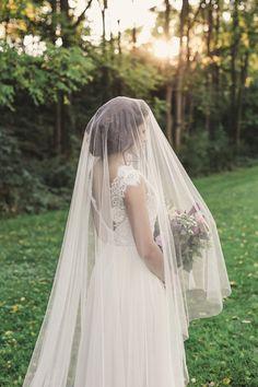 veil with blusher, bridal veil, cathedral veil, chapel veil, english net veil, ivory veil, long wedding veil - VICTORIA