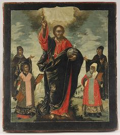 A RUSSIAN ICON OF CHRIST WITH SELECTED SAINTS, 18TH CENTURY. At center Christ, flanked by The Venerable Matrona, St. John Chrysostom, the Venerable Paraskeva and the Metropolitan Peter. 12.5 inches x 11 inches (31.7 x 28.2 cm).    Price realized $3,120