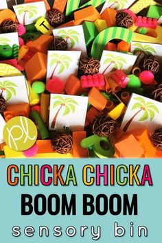 This is such a fun sensory bin for your students after reading Chicka Chicka Boom Boom! Add literacy and math task cards, plus sorting mats to turn into a learning center. Many of the materials are items you probably already have around your house and classroom! #chickachickaboomboom #sensoryplay