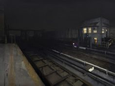 The Art of Kim Cogan: City Journal Nocturne, Trains, City Journal, Third Rail, Traditional Paintings, Art For Art Sake, City Art, Urban Landscape, Famous Artists