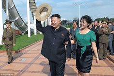 Happily married? Kim Jong-un is photographed with his wife Ri Sol-ju in Pyongyang in July 2012
