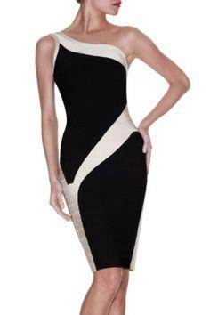 DAPENE Woman/Lady Asymetrical Neckline One-shoulder Knee-length Bandage Dress Formal Dress Cocktail Party Dress Prom Skirt Black/White Size:M « AZdresses.com