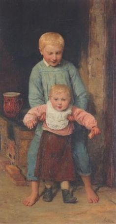 """""""Die ersten Schritte"""", also known as """"The First Steps"""" (1936), by Swiss artist - Albert Anker (1831-1910), Oil on canvas, 66.5 x 36 cm. (26.2 x 14.2 in.), Private collection."""
