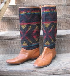 I've Been from Tuscon to Tucumcari Vintage Southwest Inspired Blanket Shaft Boots sz 8.5