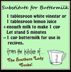 Conversion Charts & Kitchen Tips - buttermilk substitute Hacks Cocina, Cooking Tips, Cooking Recipes, Cooking Games, Cooking Pork, Cooking Classes, Cooking Quotes, Dishes Recipes, Veg Recipes