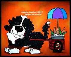 Bernese Mountain  dog Whimsical beverage cart by tangerinestudio, $45.00