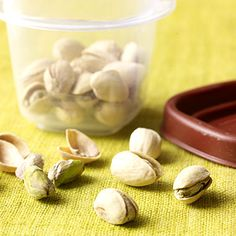 In-Shell Pistachios--Researchers at Eastern Illinois University reported that eating in-shell pistachios resulted in eating 41% less calories compared to those who ate shelled nuts. The logic is that the nuts' shell helps to trick the brain into thinking that you've eaten more than you actually have.
