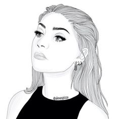 alternative, andrea russett, art, black and white, dibujo, drawing, grunge, hair, makeup, outfit, outline, First Set on Favim.com