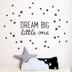 Our 'Dream Big Little One' wall sticker adds an inspirational touch to monochrome nurseries. Available from kokokids.com #DreamBigLittleOne #MonochromeNurseries #NurseryWallStickers