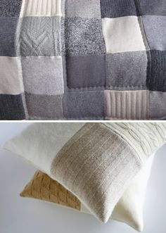 More recycled and felted sweater bedding.  Fantastic!