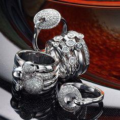 three 18k white gold diamond rings, & 14k white gold diamond ring Somerset West, Fine Jewelry, Jewellery, White Gold Diamonds, Diamond Rings, Jewelry Collection, Cufflinks, Vans, Seasons