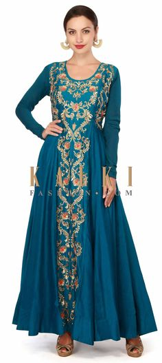 Buy Now Teal blue dress embellisehdi n french knot and sequin only on Kalki