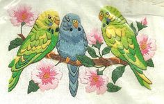 "Vintage Birds Floral Sunset Jiffy Crewel Embroidery Kit ""Pretty Parakeets"" 