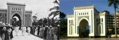 De toegangspoort van de Grote Moskee van Medan aan deDjalanSulthan, nuJalanMesjidRaya. Links het bezoek van gouverneur-generaal Dirk Fock van Nederlands-Indië aan de moskee in 1925 (bron: Tropenmuseum). Rechts dezelfde poort nu (bron: Rinaldi Munir).