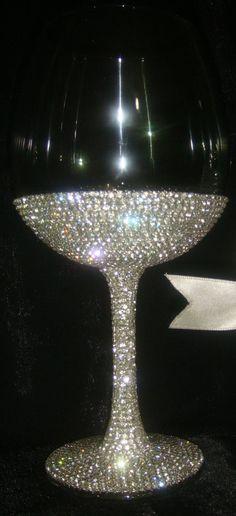 Custom designed handmade wine glass with Czech rhinestones