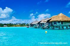 Over water bungalows on Bora Bora Tahiti Vacations, Vacation Destinations, Bora Bora Photos, Water Bungalow, French Polynesia, Bungalows, Color Theory, Beautiful Islands, Travel Around